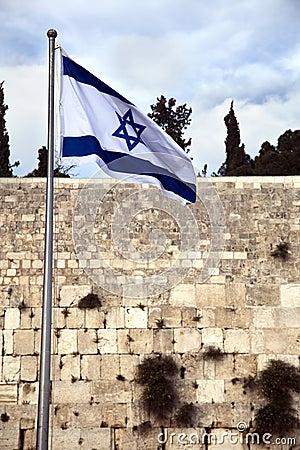 Drapeau de l Israël et le mur pleurant