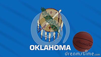 Drapeau de l'Oklahoma et rotation du basket-ball, boucle illustration de vecteur