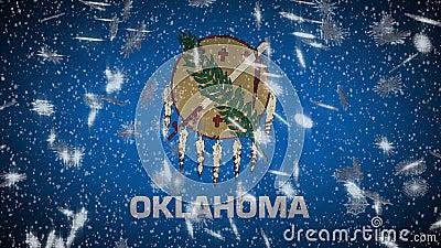 Drapeau de l'Oklahoma tombant sous la neige, le Nouvel An et le fond de Noël, boucle illustration libre de droits