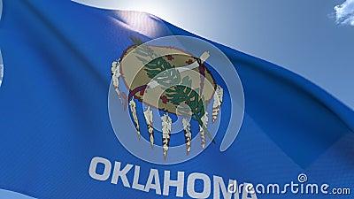 Drapeau de l'Oklahoma Waving in the Wind banque de vidéos