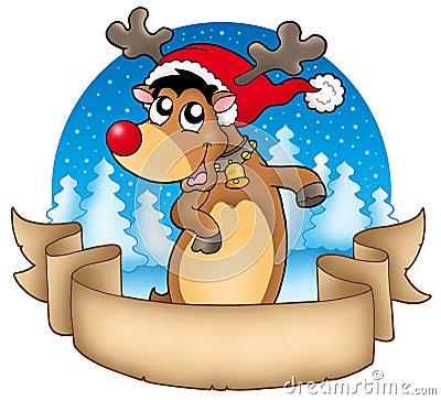 Drapeau de Noël avec le renne mignon