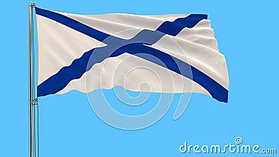 Drapeau du ` s de St Andrew sur un mât de drapeau flottant dans le vent sur un fond bleu, rendu 3d illustration libre de droits
