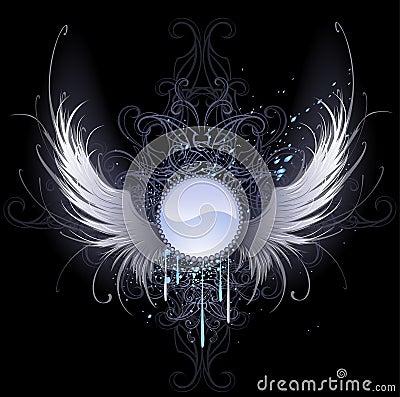 Drapeau rond avec des ailes d ange