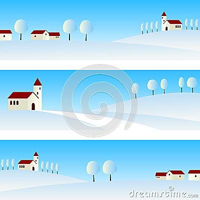 Drapeaux d horizontal de l hiver