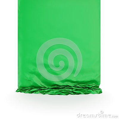 Drapery di seta verde.