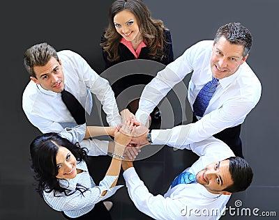 Draufsicht von Geschäftsleuten mit ihren Händen