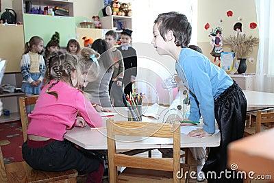 Draw children in kindergarten
