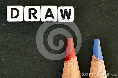 Draw color pencils on black background Stock Photo