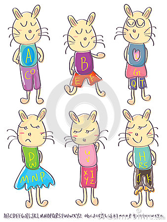 Draw Male Female Cat Alphabet Set_eps