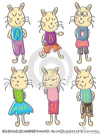 Draw Male Female Cat Alphabet Set_eps