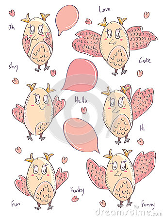 Draw Owl Bird Cute Card_eps