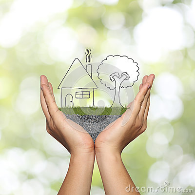 Free Draw Shape Of House On Man Hand In Concept Of Residential And Ho Stock Photography - 84508692
