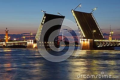 Drawbridge in St. Petersburg at night.