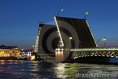 Drawbridge in St. Petersburg at night.
