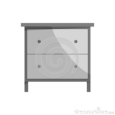 Drawer icon, black monochrome style Vector Illustration