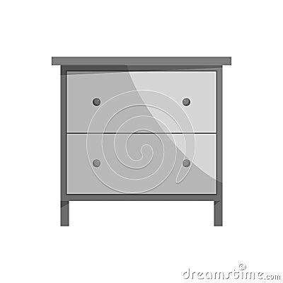 Drawer icon, black monochrome style Vector Illustration