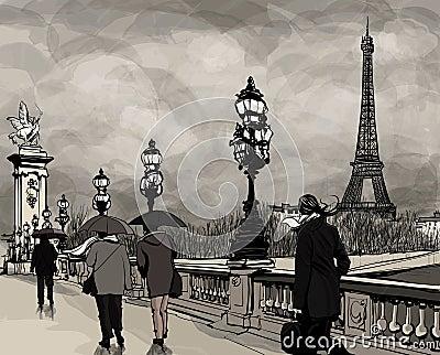 Drawing of Alexander III bridge in Paris showing Eiffel tower