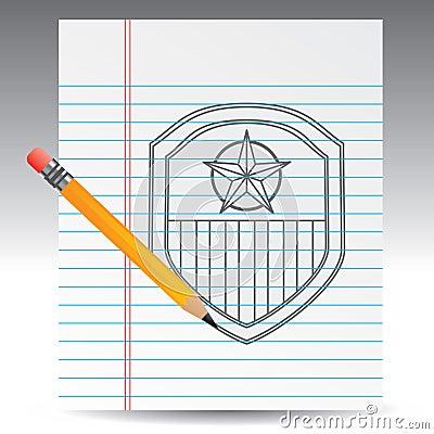 Drawing of american patriotic shield