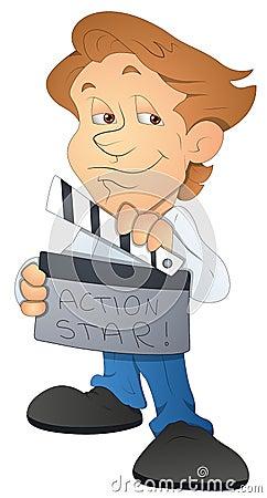 Movie Director - Cartoon Character - Vector Illustration