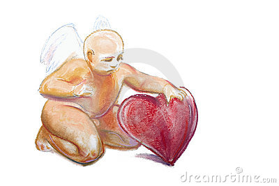Drawing of baby cupid with angel wings by pastel
