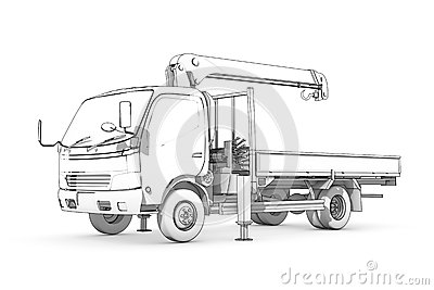 Stock Illustration Drawing Black White Sketch Loader Three Dimensional Illustration Small Truck Crane Image47005034