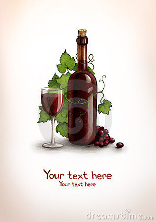 Drawing of bottle and glass with wine