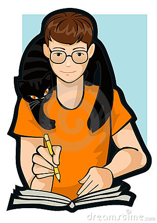 Drawing a boy with a cat