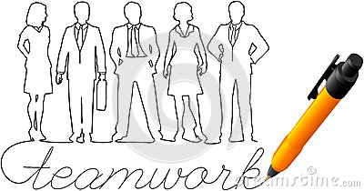 Drawing business team work people
