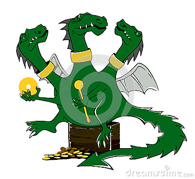 Drawing a cartoon of a green dragon. Illustration. Stock Photo