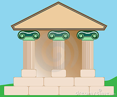Drawing of Classical Building.