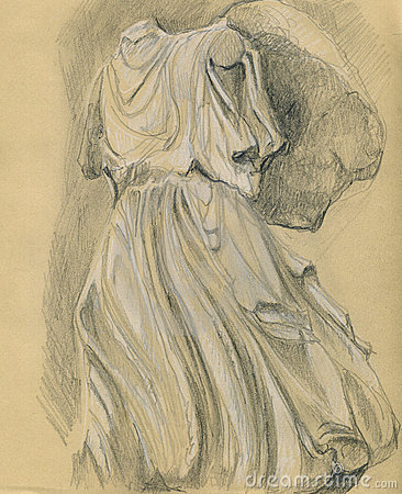 Drawing of a Classical Greek sculpture.