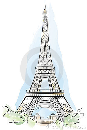 Drawing color Eiffel Tower in Paris, France