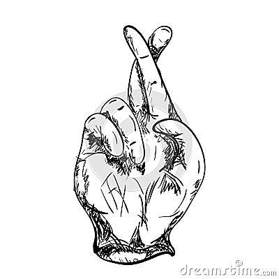 Drawing crossed fingers