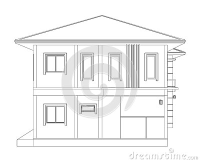Drawing Of 3d Home Building Side View Stock Illustration