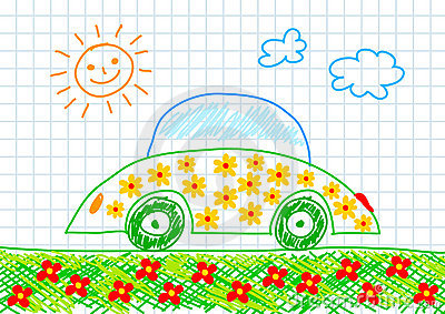 Drawing of ecological car