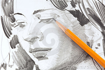 Drawing of girl by graphite pencil