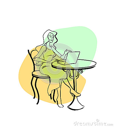 Drawing a girl sitting at a computer