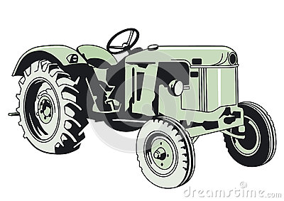 Drawing of a Green Tractor