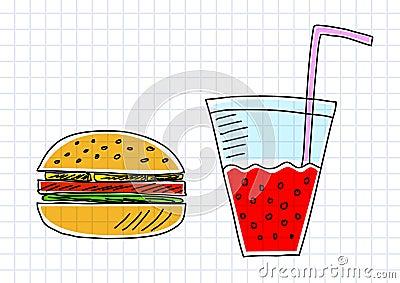 Drawing of hamburger