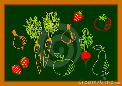 Drawing of healthy food