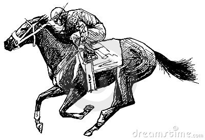 Drawing of a horse and rider