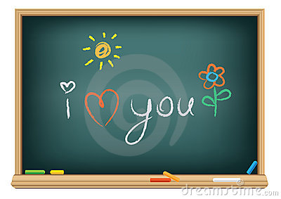 Drawing i love you by a chalk