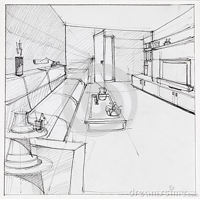 Drawing Of Interior Living Room Stock Illustration Image