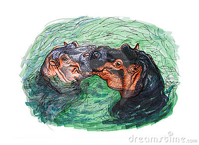 Drawing of kissing hippopotamus