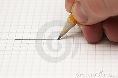 Drawing a line with pencil