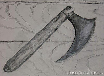 Drawing of Medieval Battle Ax