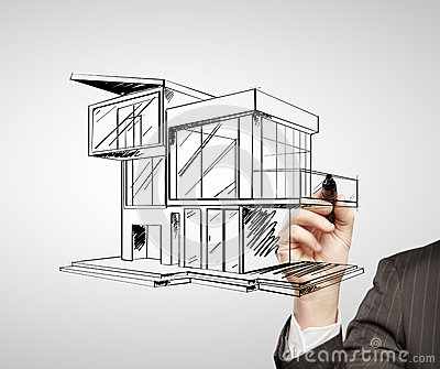 Drawing Modern House Royalty Free Stock Images Image
