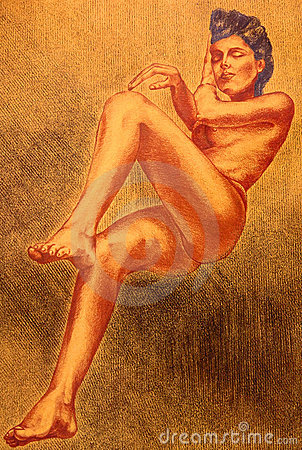 Drawing of a naked woman