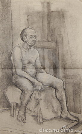 Drawing of nude man
