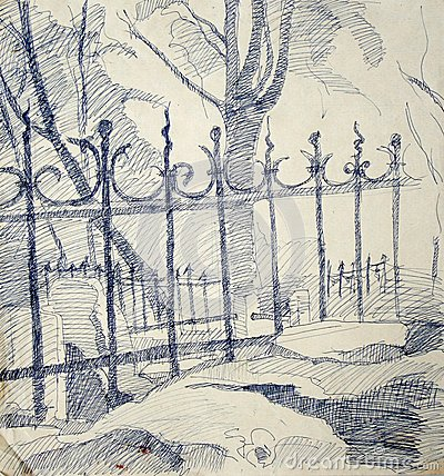 Free Drawing Of A Metallic Fence Royalty Free Stock Photos - 25875968